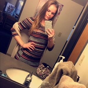 Striped body con midi dress